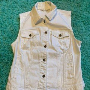 White Boston Proper XS Women's Denim White Vest